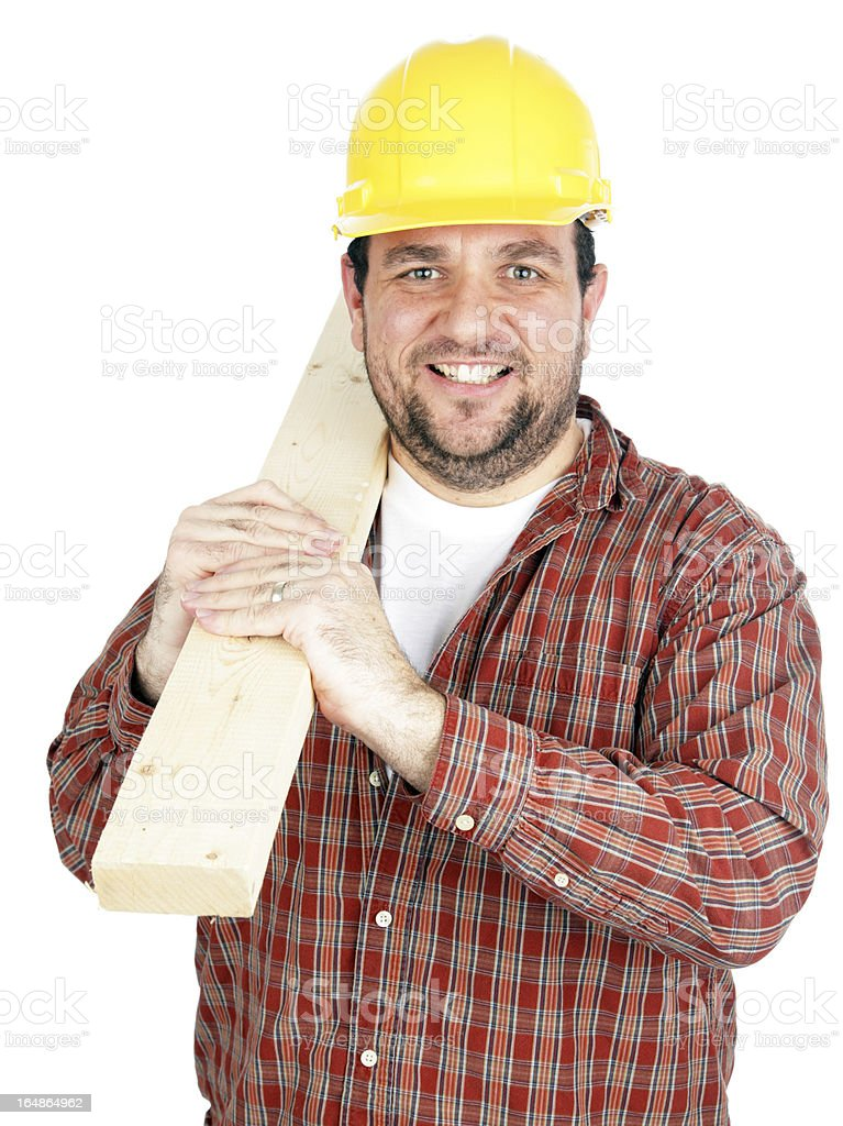Construction Worker with 2x4 royalty-free stock photo