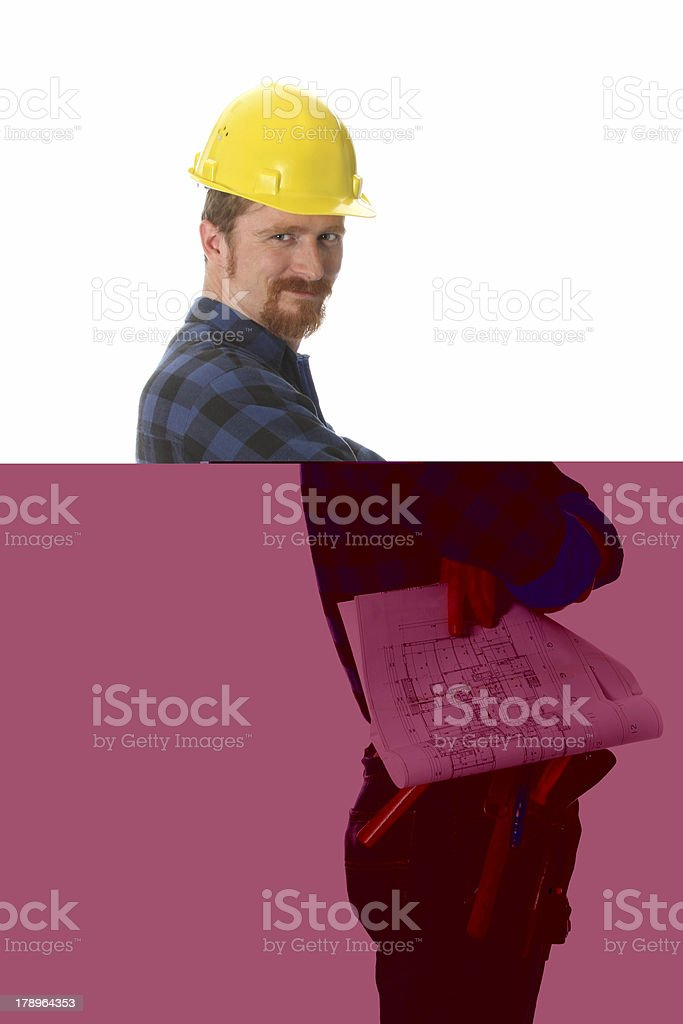 construction worker with architectural plans royalty-free stock photo