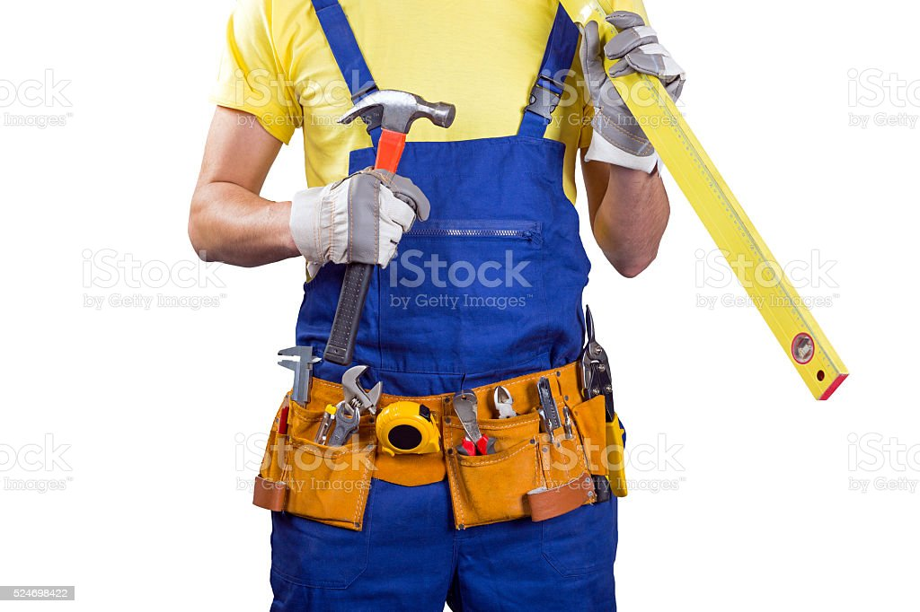 construction worker with belt and tools in hands on white stock photo