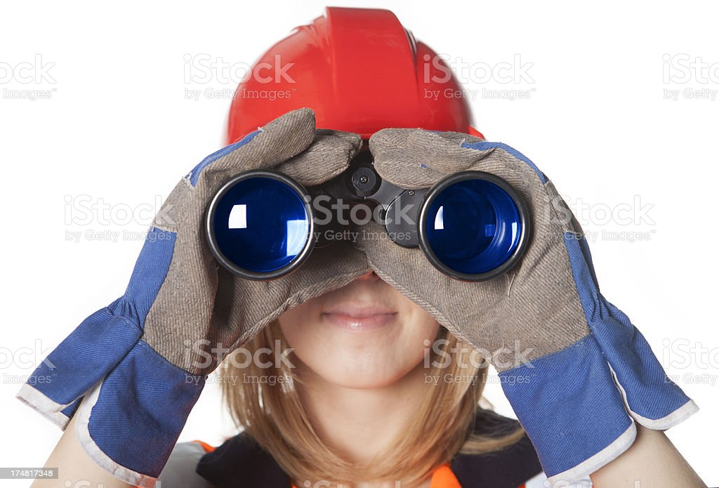 Construction Worker With Binoculars, looking for a job royalty-free stock photo