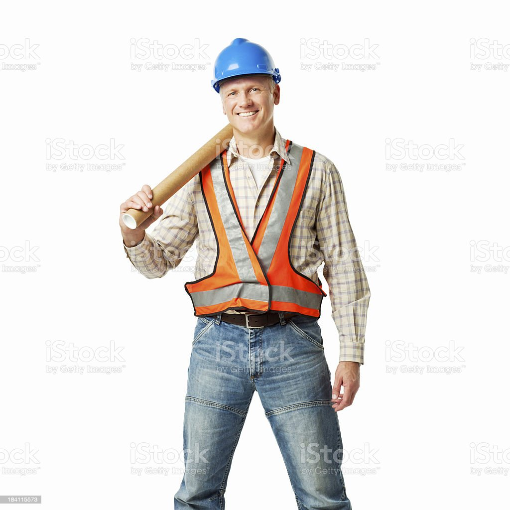 Construction Worker With Blueprints - Isolated royalty-free stock photo