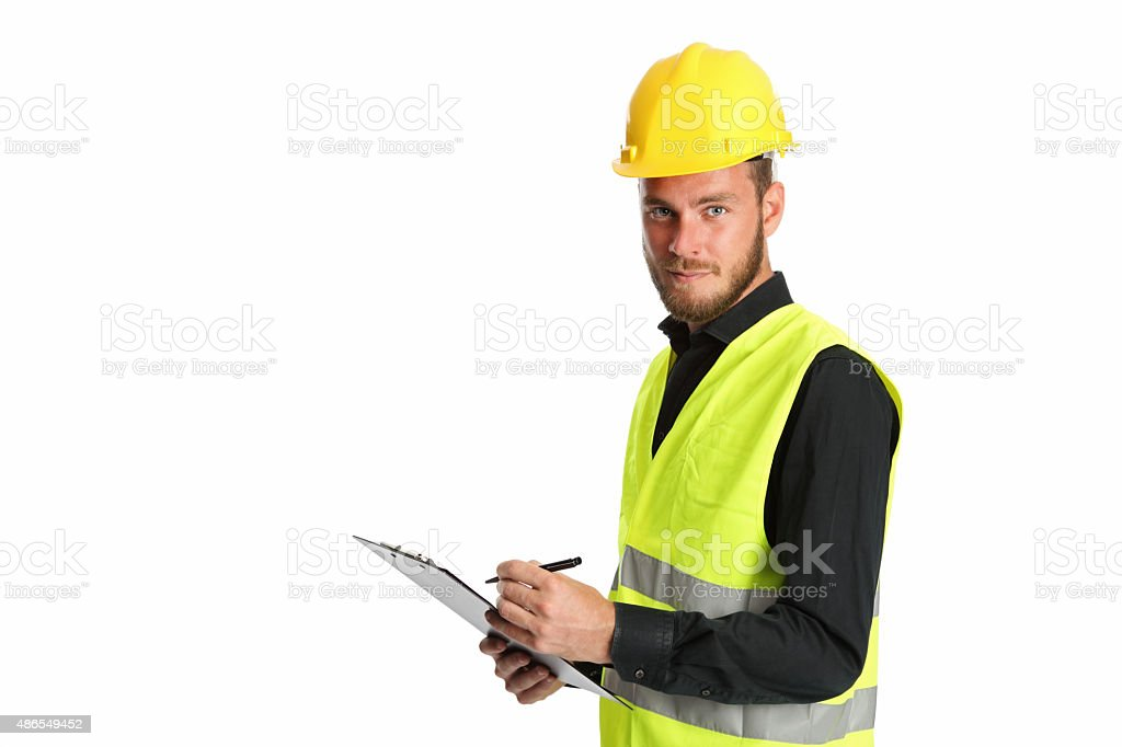 Construction worker with clipboard stock photo