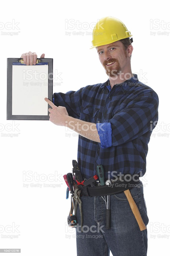 construction worker with documents royalty-free stock photo