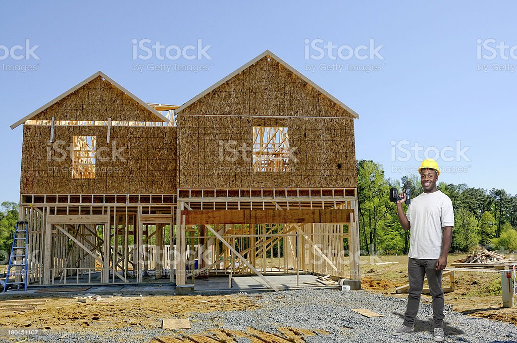 Construction Worker with Drill royalty-free stock photo