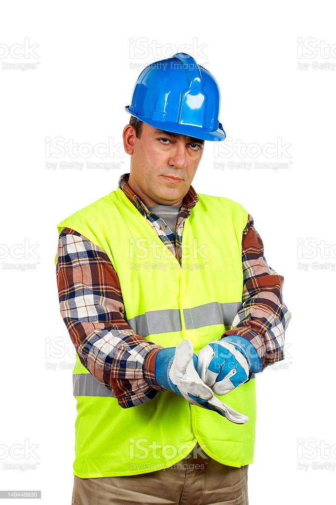 Construction worker with gloves royalty-free stock photo