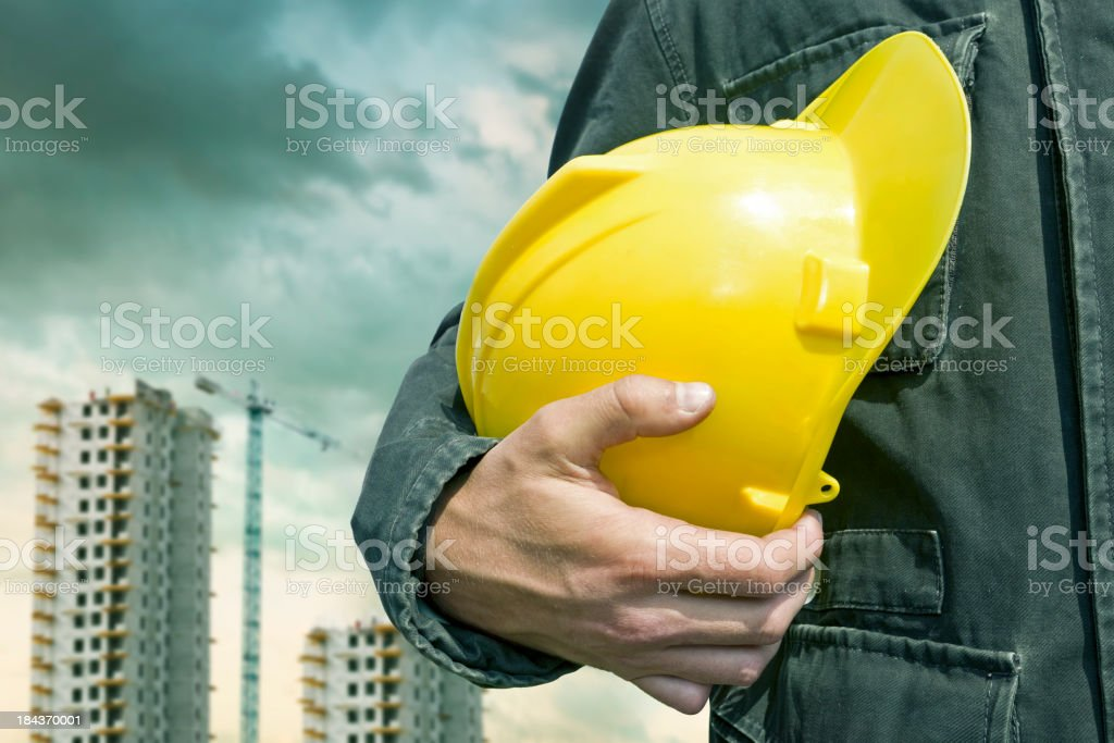Construction worker with helmet stock photo