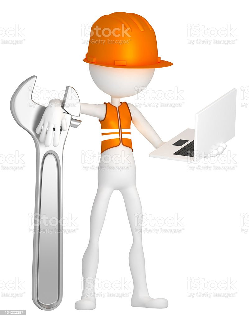 Construction worker with laptop royalty-free stock photo