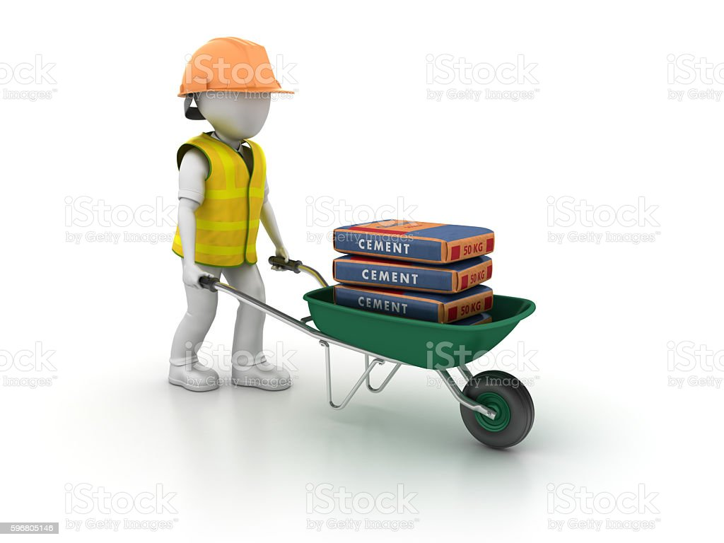 Construction Worker with Wheelbarrow and Cement Bags stock photo