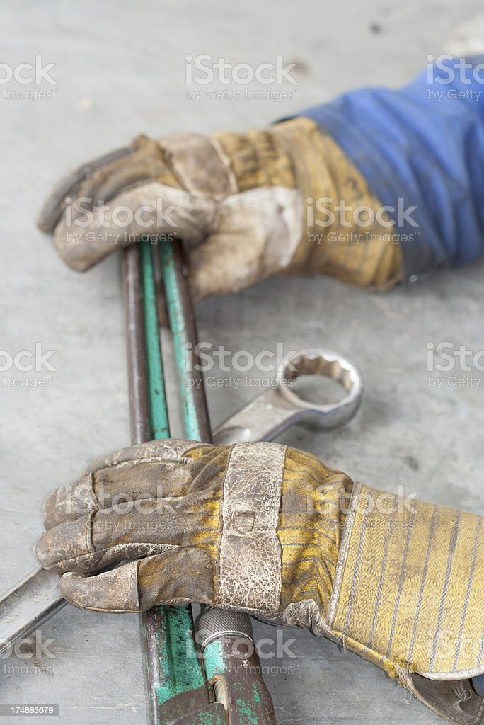 Construction worker with wrench royalty-free stock photo