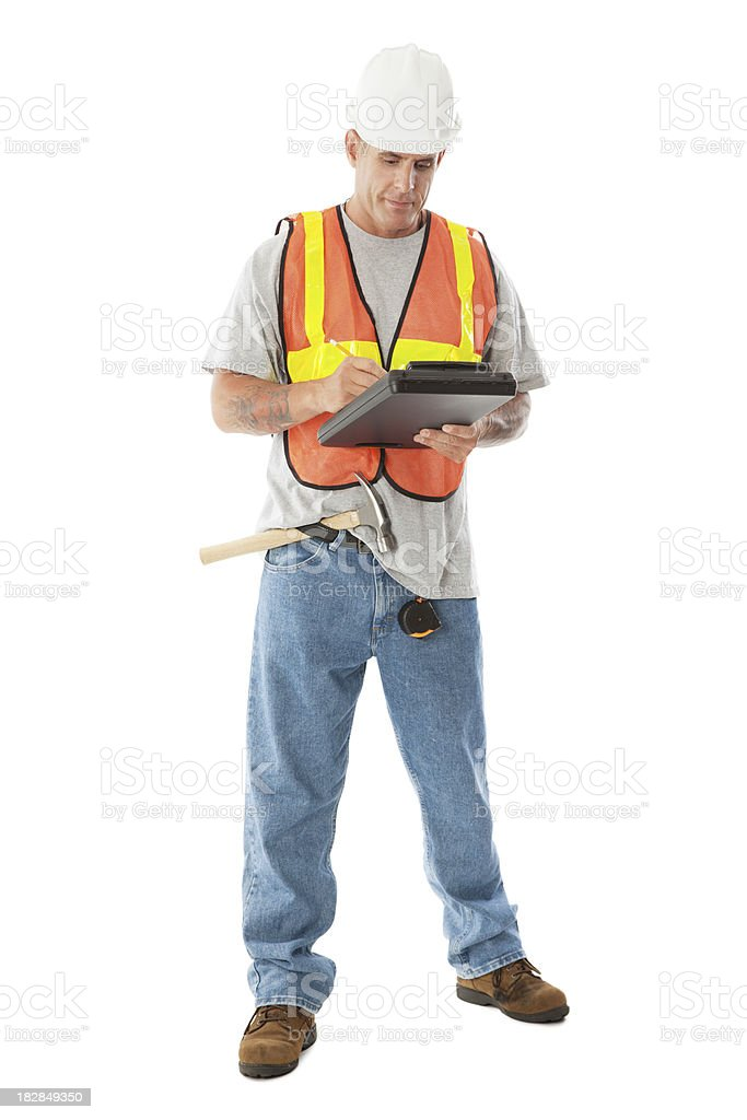 Construction Worker Writing Notes, Full Body Isolated on White stock photo