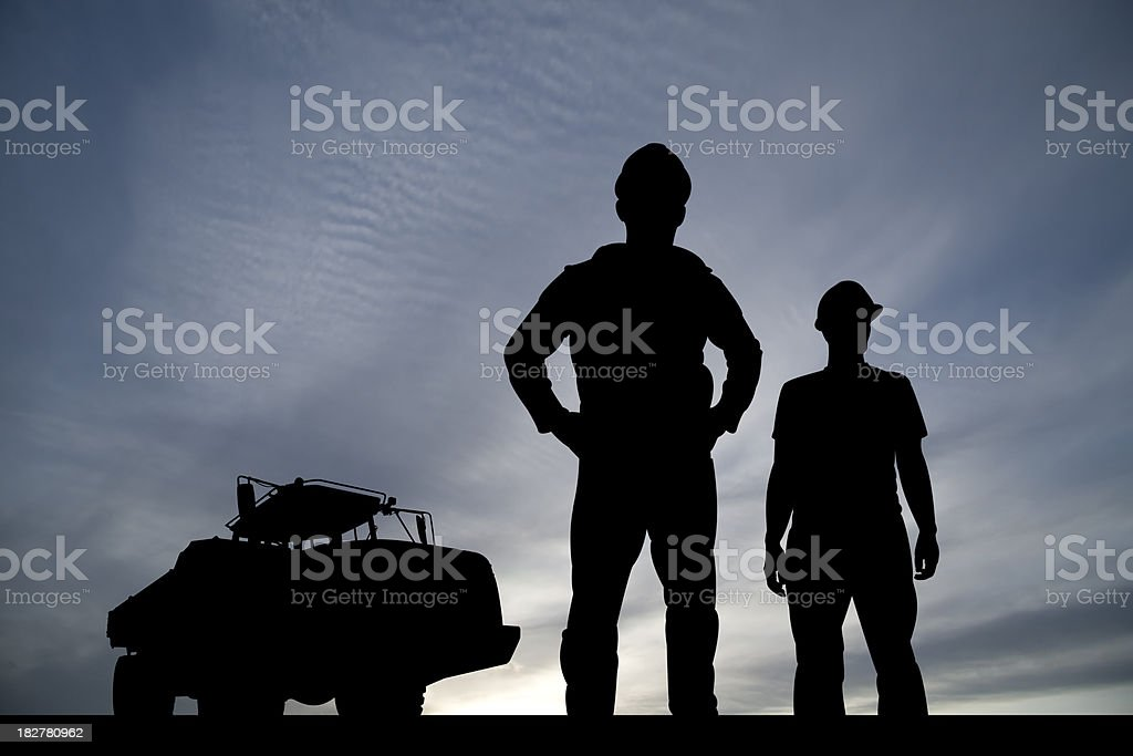 Construction Workers and Truck royalty-free stock photo