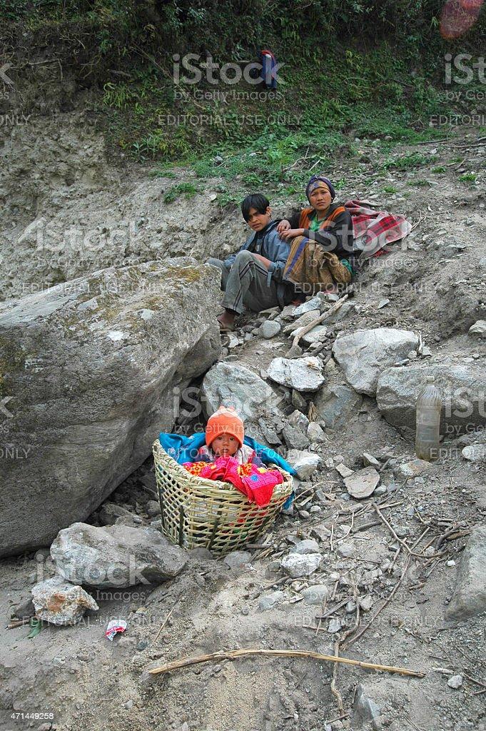 Construction workers Annapurna circuit Nepal stock photo