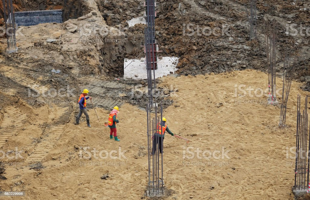 Construction workers are working stock photo