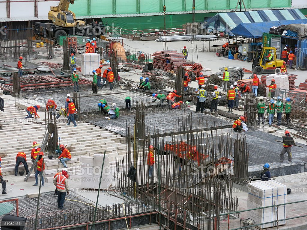 Construction workers in Asia stock photo