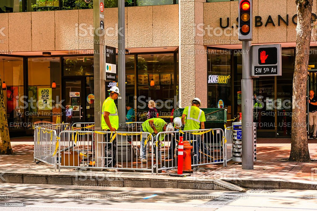 Construction workers in downtown Portland Oregon stock photo