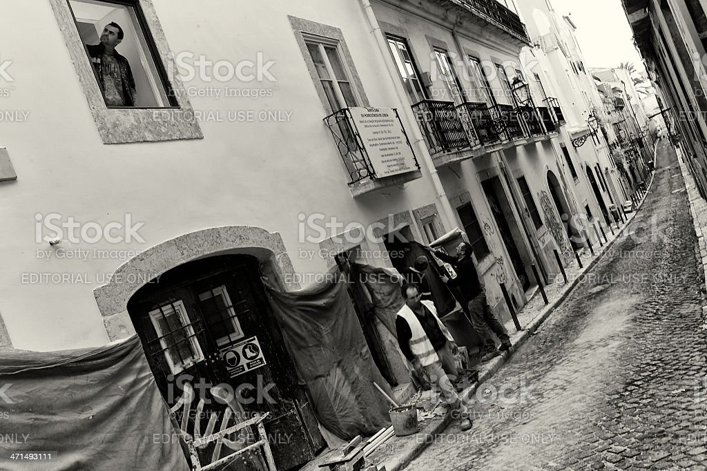 Construction Workers in Lisbon royalty-free stock photo