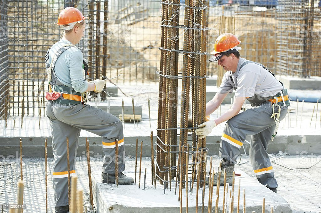 construction workers making reinforcement royalty-free stock photo