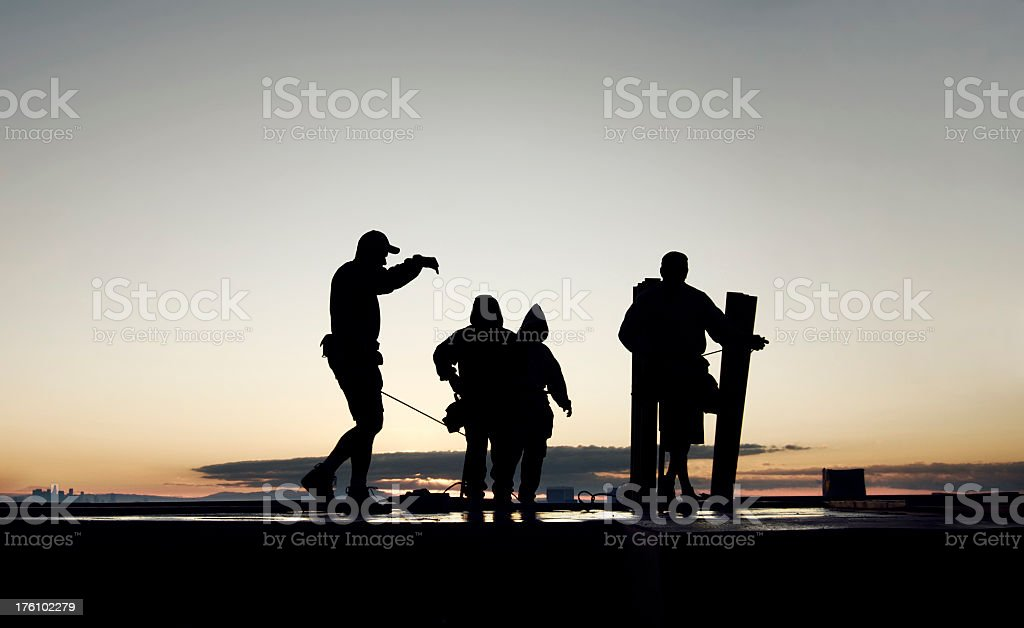 construction workers on deck bright and early royalty-free stock photo