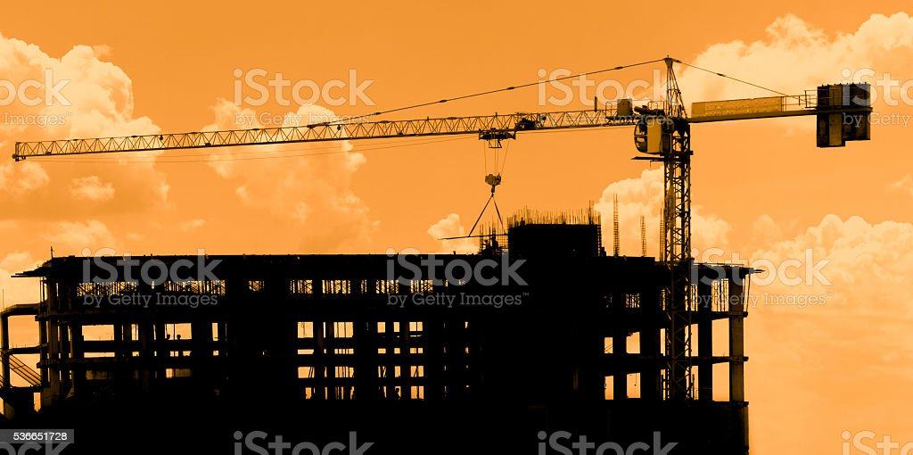 construction workers on scaffold stock photo