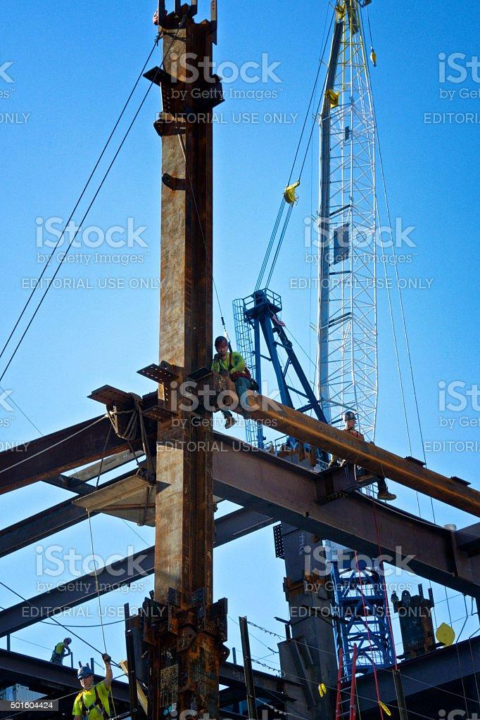 Construction workers on steel girders, Manhattan, New York City stock photo