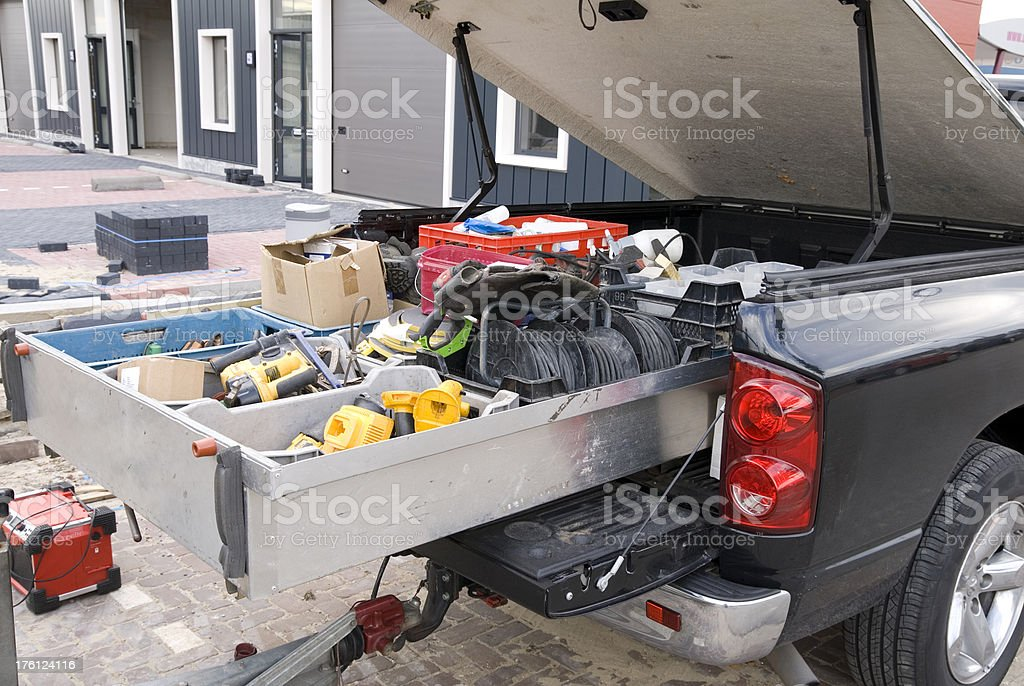 Construction Worker's Pick-up Truck stock photo