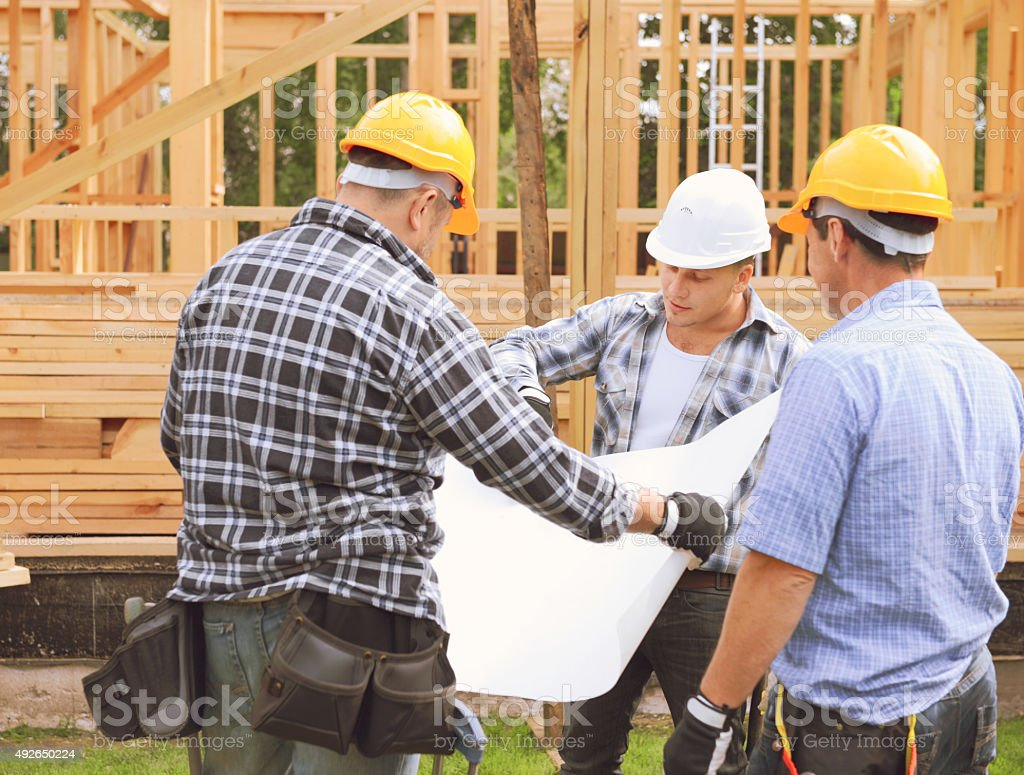 construction workers stock photo