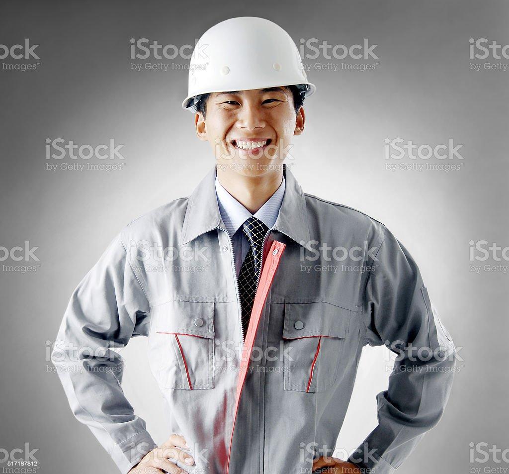 Construction workers portrait stock photo