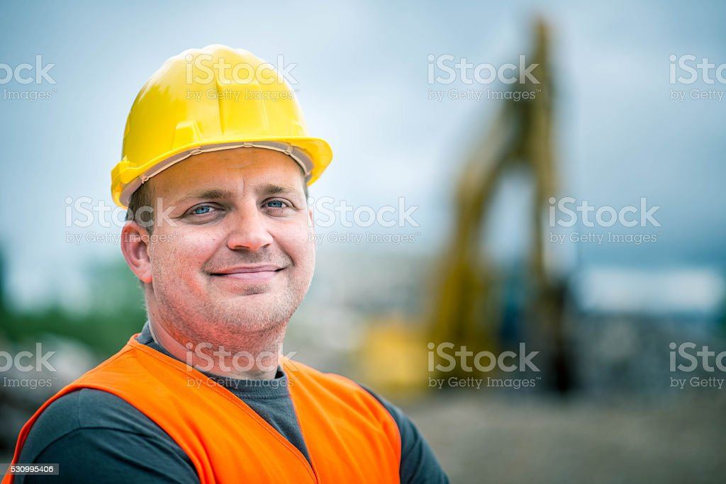 Construction Worker's Portrait stock photo