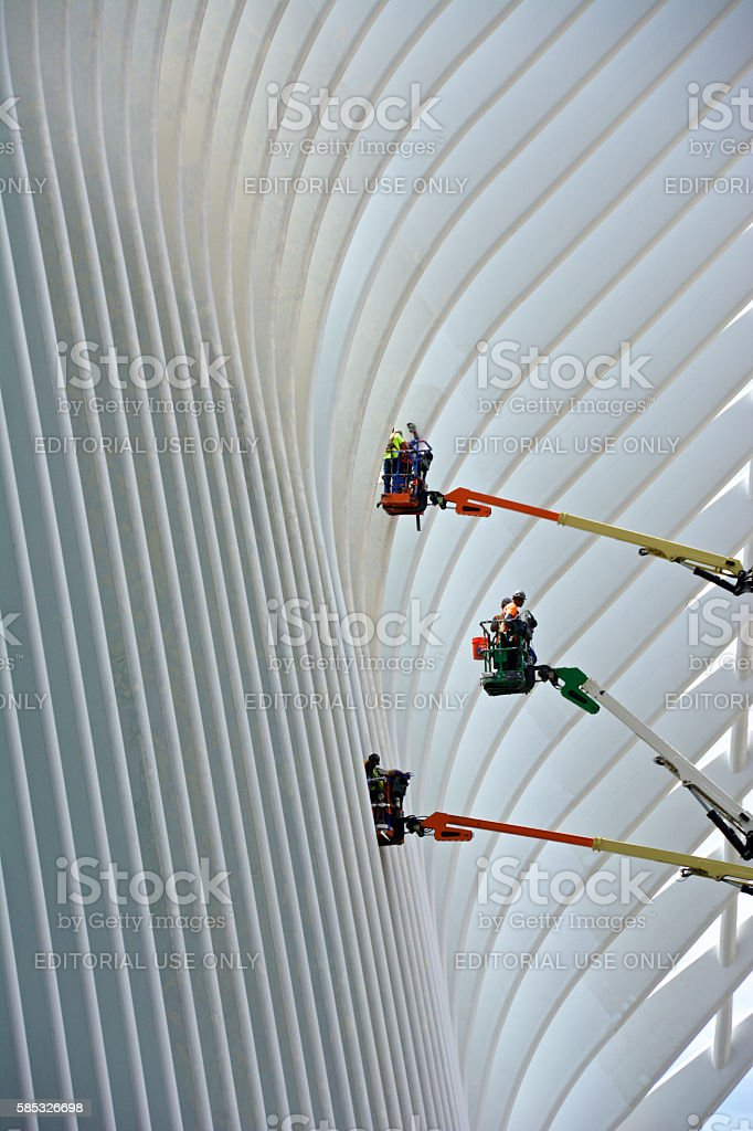 Construction Workers, The Oculus, World Trade Center Transportation Hub, NYC stock photo
