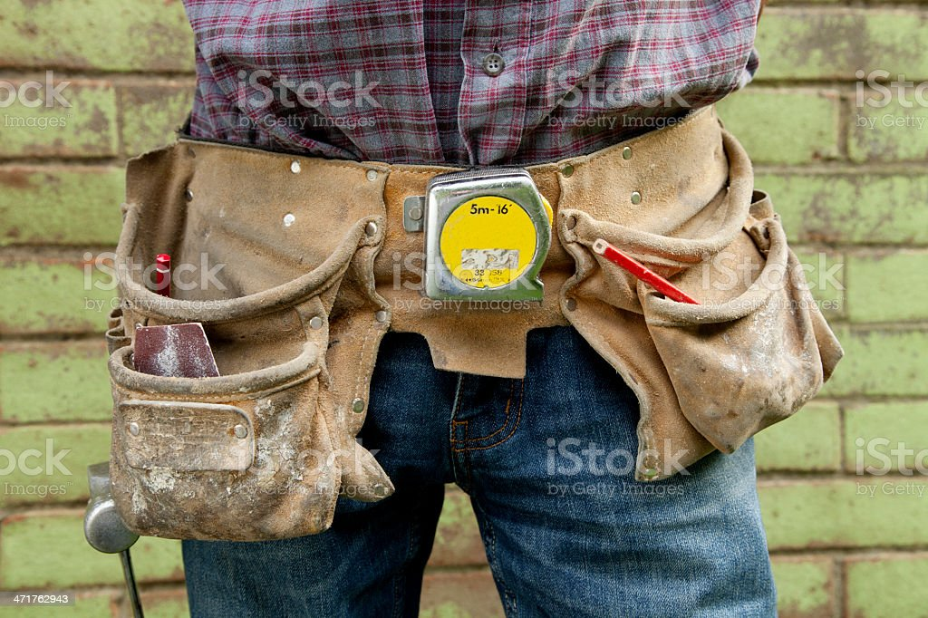 Construction  worker's tool belt royalty-free stock photo