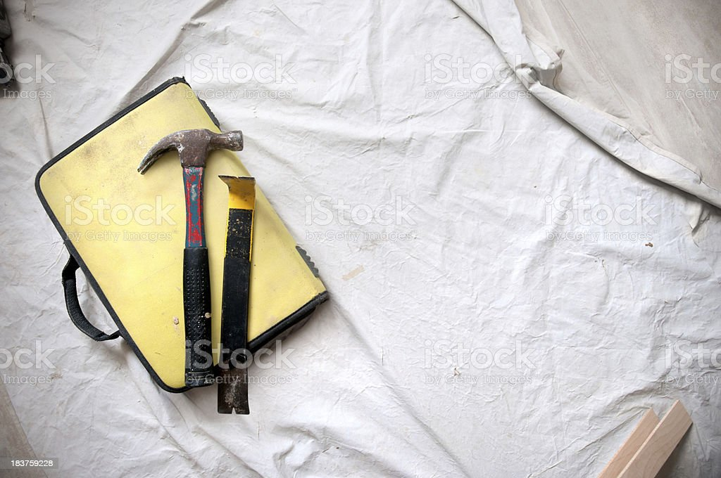 Construction: Yellow toolbag and Tools on the Ground stock photo