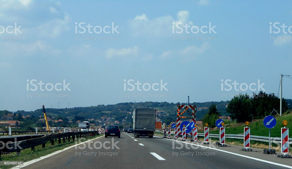 construction zone on the highway stock photo