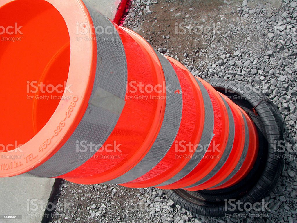 Constructions, road signs stock photo