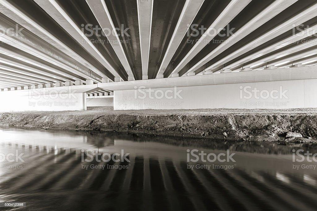 Constructions under the bridge. stock photo