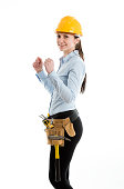 Constructor woman, isolated on white
