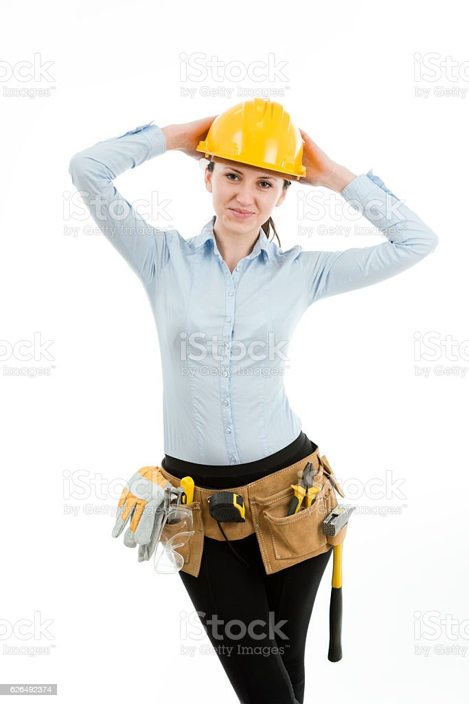 Constructor woman, isolated on white stock photo
