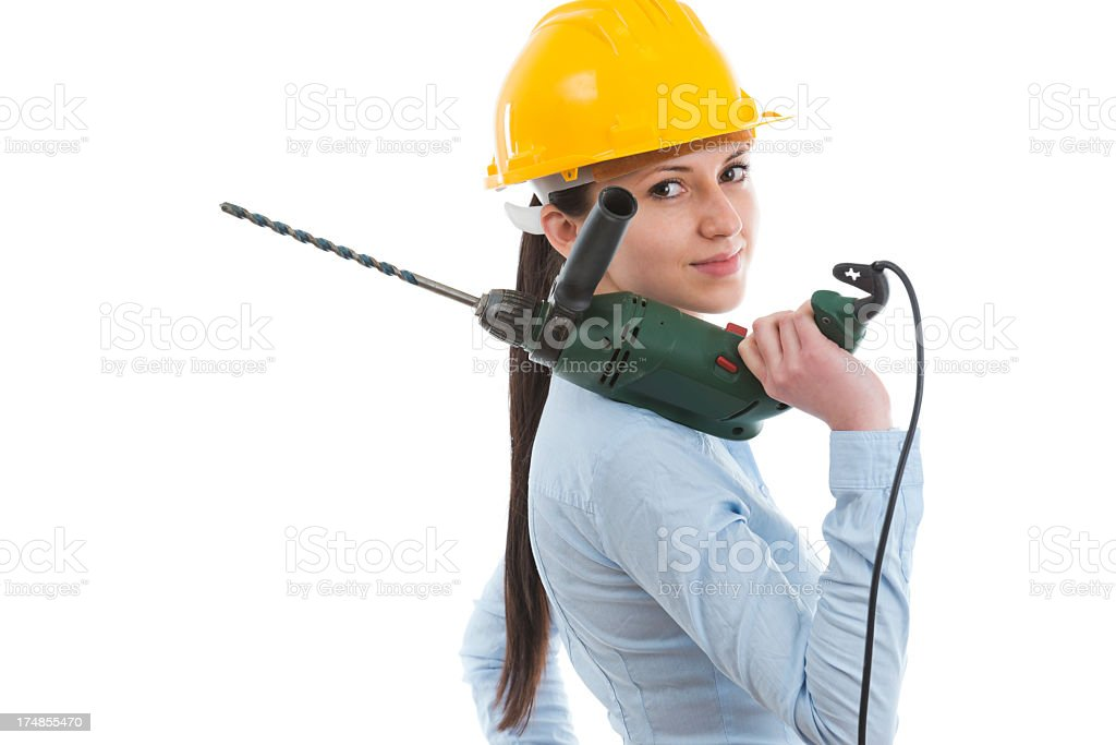 Constructor woman with drill royalty-free stock photo