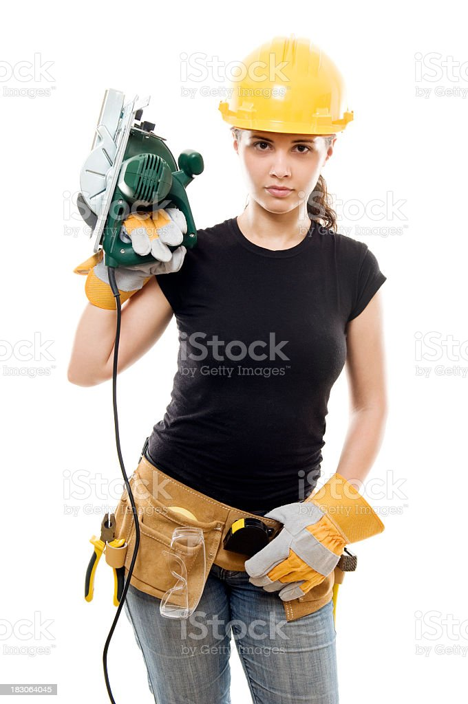 Constructor woman with saw, isolated on white royalty-free stock photo
