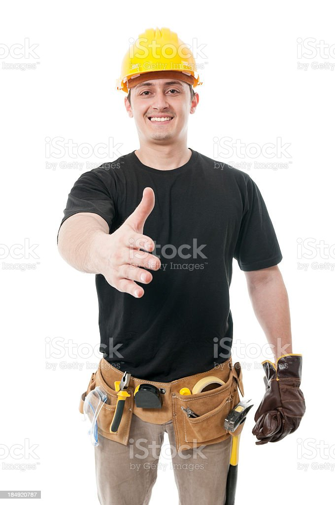 Constructor worker handshake, isolated on white royalty-free stock photo