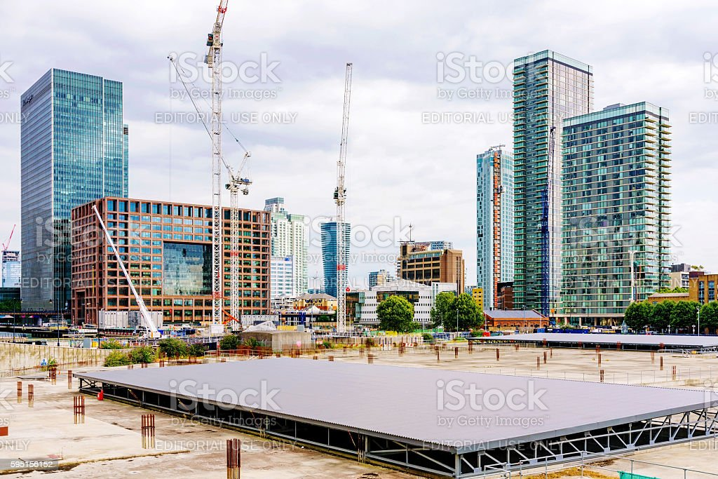 Construting area of canary wharf stock photo
