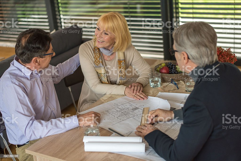 Consultant explaining blue print stock photo