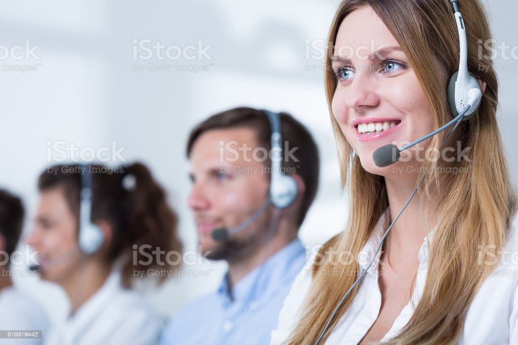 Consultant in call center stock photo