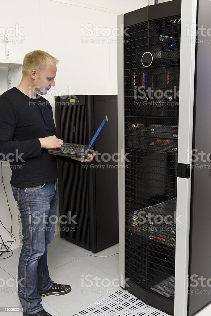 IT Consultant Monitoring Datacenter royalty-free stock photo