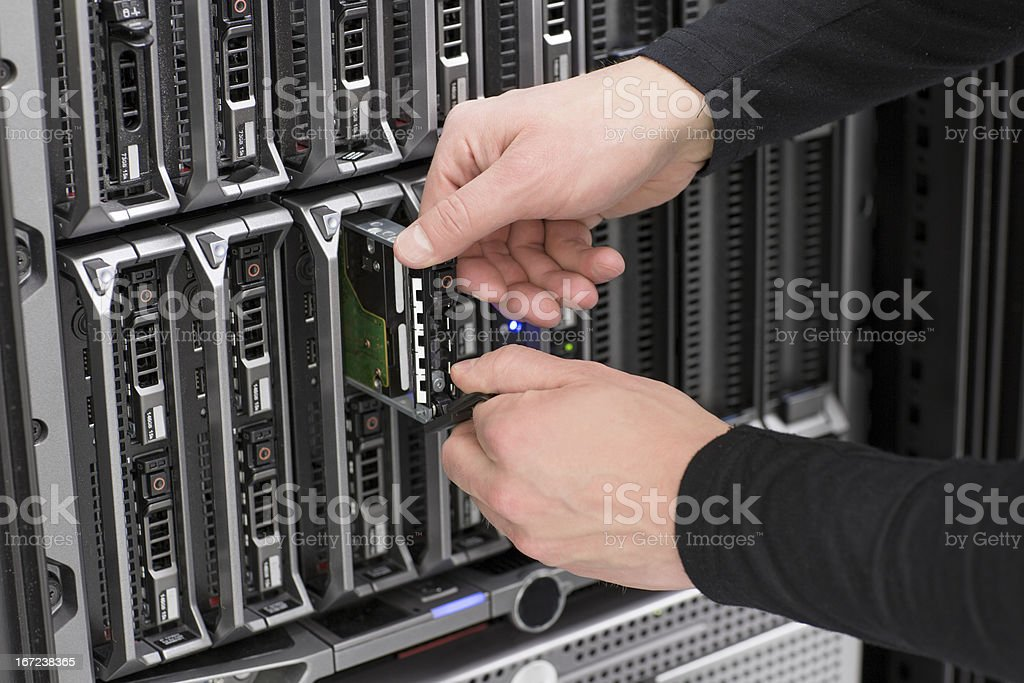 IT Consultant Replace Hard Drive Blade Server royalty-free stock photo