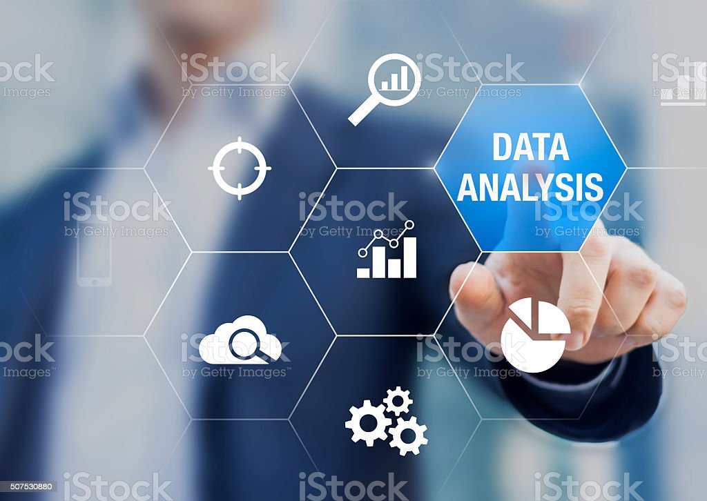 Consultant showing data analysis concept on screen for business stock photo