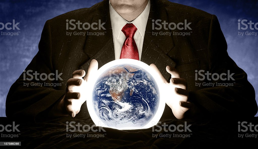 Consulting Crystal Ball for Future of Earth stock photo