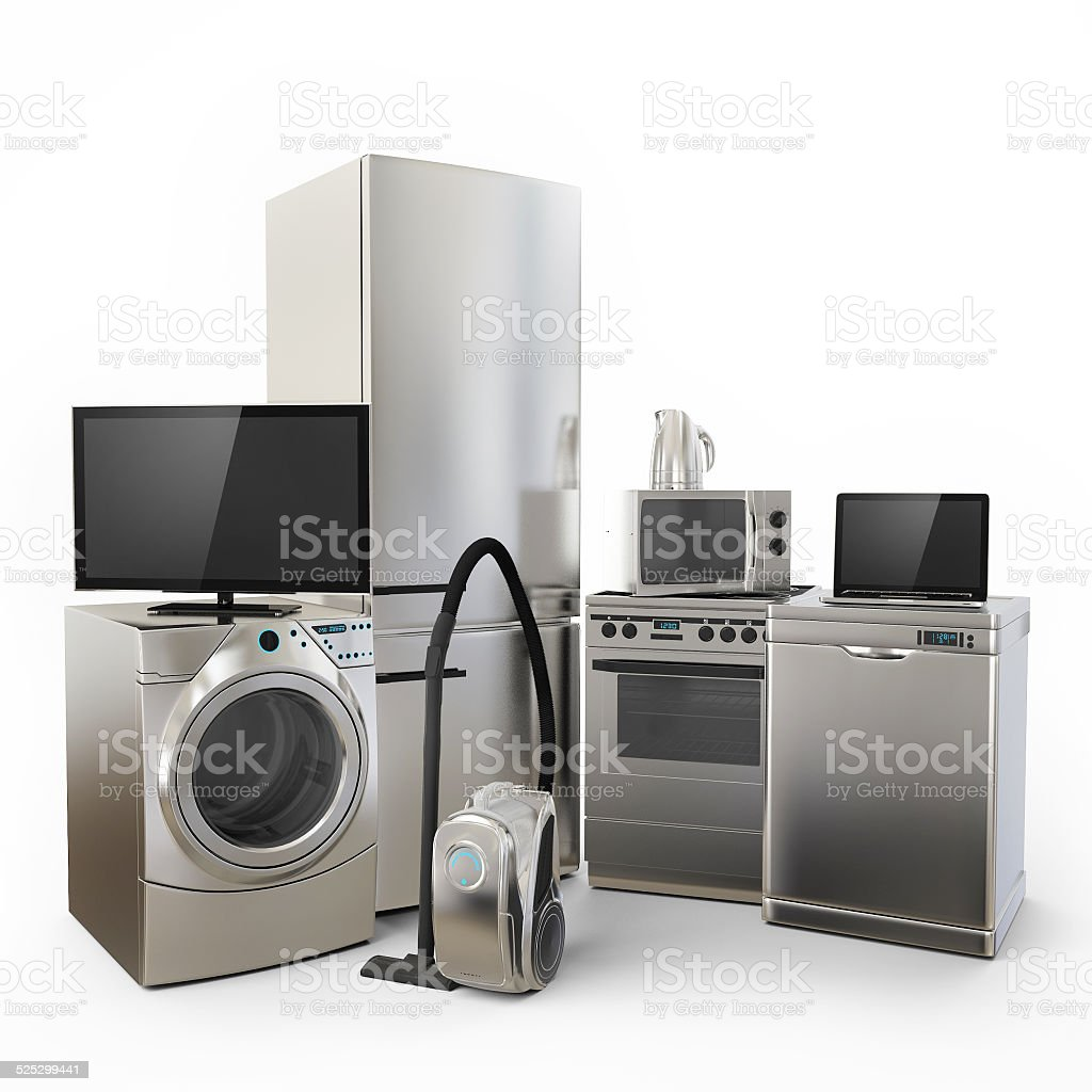 Consumer Electronics Tv Fridge vacuum cleaner Microwave Washer vector art illustration