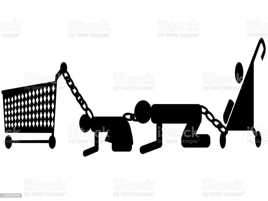 consumer family chained for Classic supermarket shopping trolley illustration stock photo
