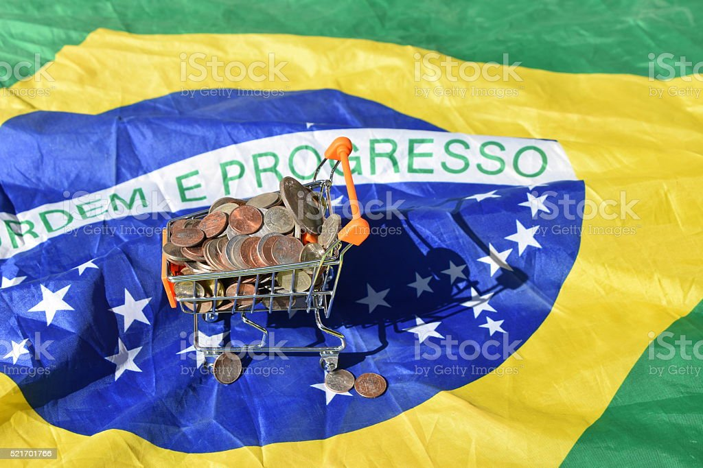 Consumerism Concept and Brazil flag stock photo