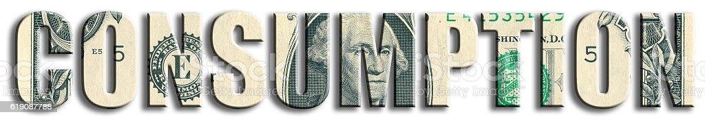Consumption, economic indicator. US Dollar texture. stock photo